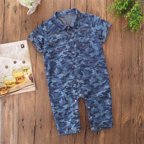 Boys Camouflage Print Short Sleeve Romper Jumpsuit Outfits Sets