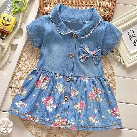 Baby Girl Denim Floral Edge Princess Dress