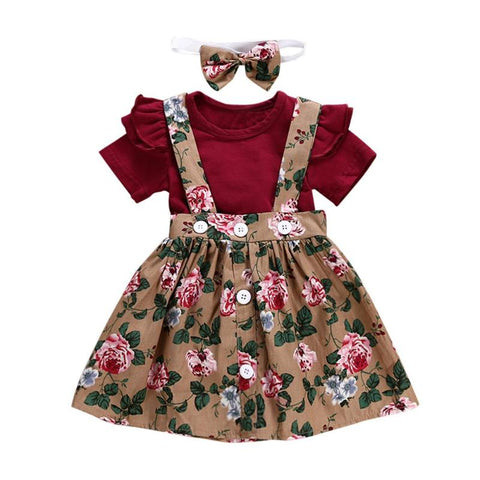 Adorable Girls Summer Flower Sling Dress With Headband