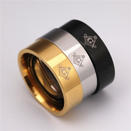 Masonic Symbol Ring Black/Silver/Gold