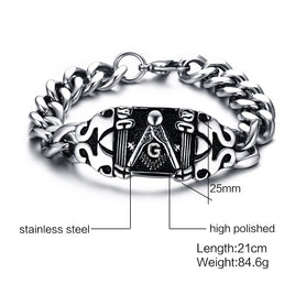 Masonic Bracelet Curb Chain