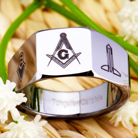 Masonic Silver Carbide Ring