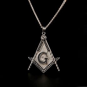 Antique Silver Tone Masonic Symbol Necklace Gold/Silver