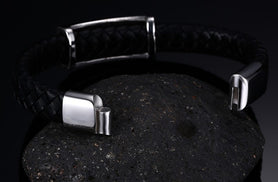 Masonic Bracelet Magnetic Buckle Genuine Black Leather