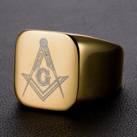 Masonic Ring Signet Black/Sliver/Black