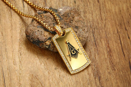 Masonic Dog Tag Necklace with CZ