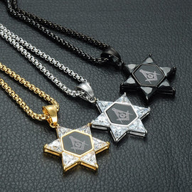 Masonic Necklace Stainless Crystal Star of David Gold/Silver/Black