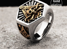 Masonic Ring hexagon Skull Totem