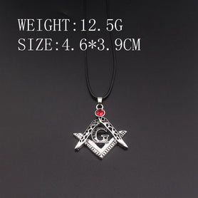 Masonic Red Stone Compass Square Necklace