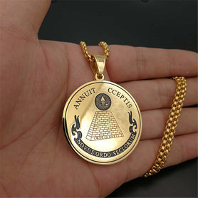 Hip Hop Round Coin All Seeing Eye of Providence Pendants Necklaces For Women/Men Gold Color Stainless Steel Masonic Jewelry