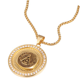 Masonic Past Master Pendant Necklace with Cubic Zircons