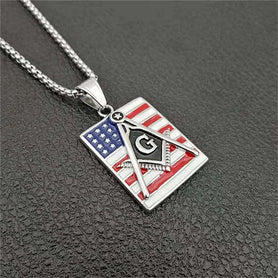 Masonic Symbol American Flag Dog Tag Necklace