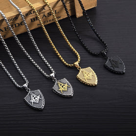 Shield Masonic Necklaces Gold Sivler Black