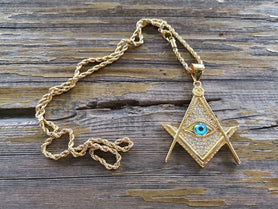 Paved Gold Color Masonic Necklace