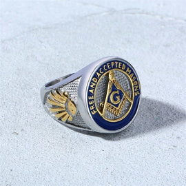 Masonic Blue Silver Ring