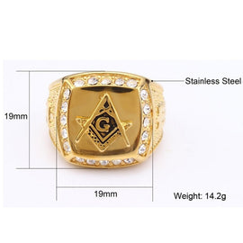 Masonic Crystal Gold Ring