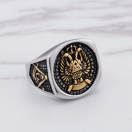 Masonic Double Eagle Head Ring