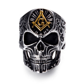 Masonic Skeleton Skull Ring Silver
