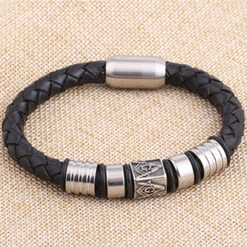 Masonic Magnetic Buckle Genuine Leather Bracelet