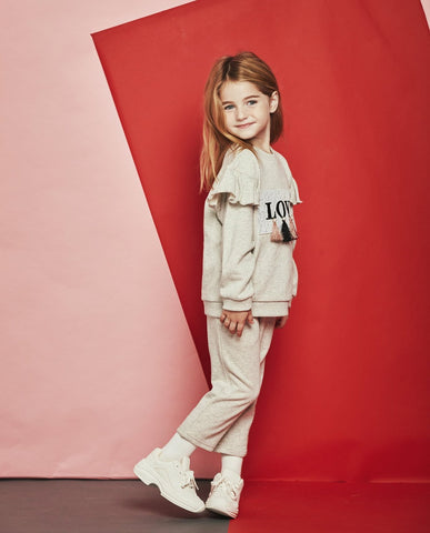 [Set] Ruffled Love Sweatshirt and Sweat Pants