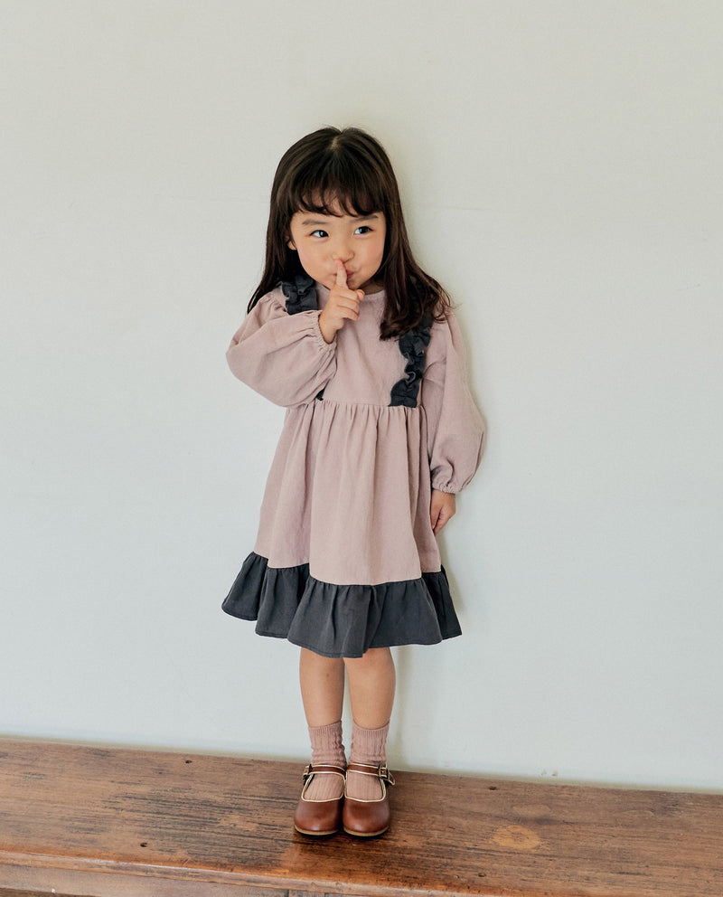 [Out of Stock] Color Block Ruffle Patched Dress