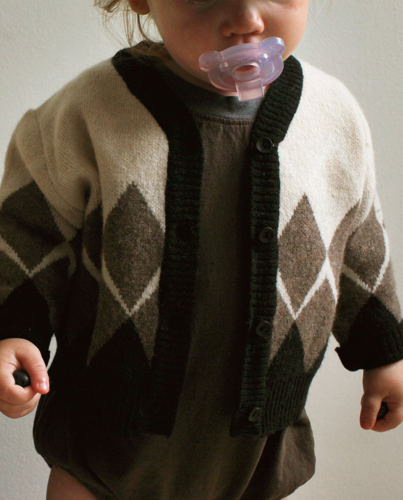 [Out of Stock] Argyle Patterned Baby Cardigan