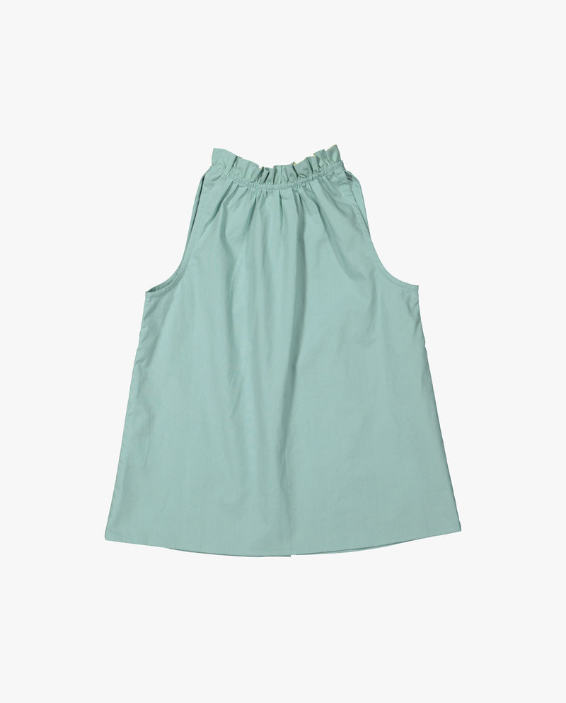 [Out of Stock] Sleeveless Ruffle Neck Blouse