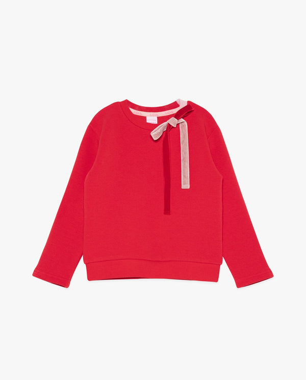 Velvet Bow Sweatshirt on MooMooz