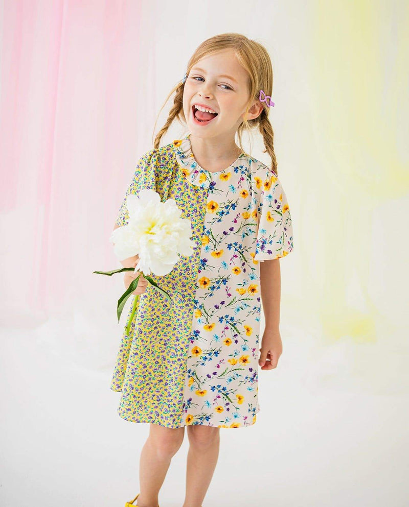 [Out of Stock] Girls Floral Print Half-and-Half Dress