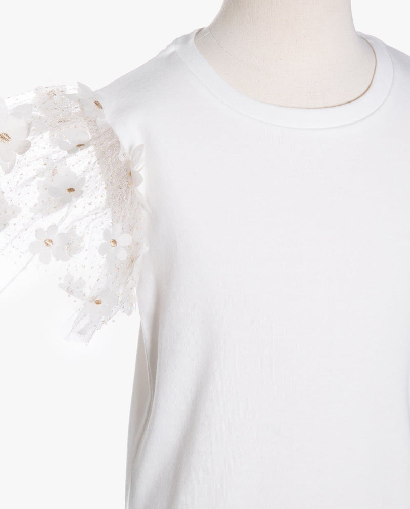 [Out of Stock] Daisy Tulle Sleeve T-Shirt