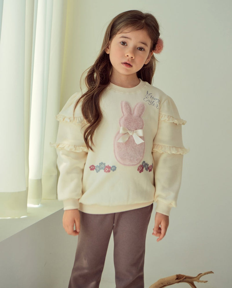 [Out of Stock] Bunny Patched Puffy Shoulder Sweatshirt