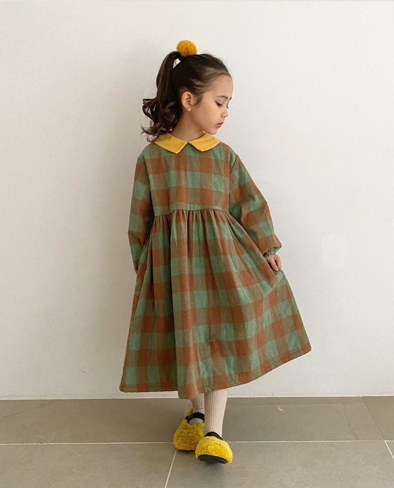 Color Block Collared Plaid Dress on MooMooz