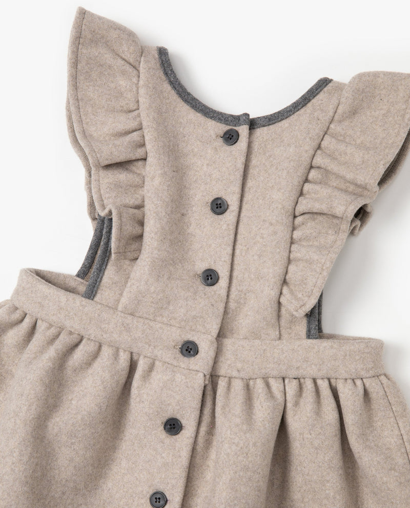 [Out of Stock]Ruffled Wool Apron Dress