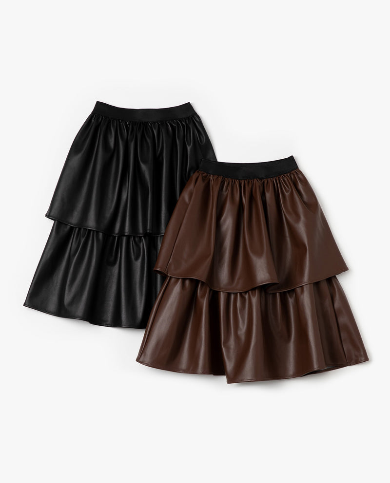 Glossy Double Tiered Skirt