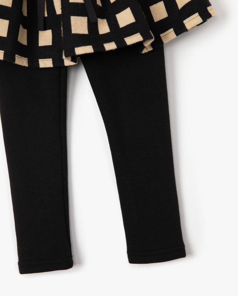 Grid Patterned Skirt Patched Leggings on MooMooz