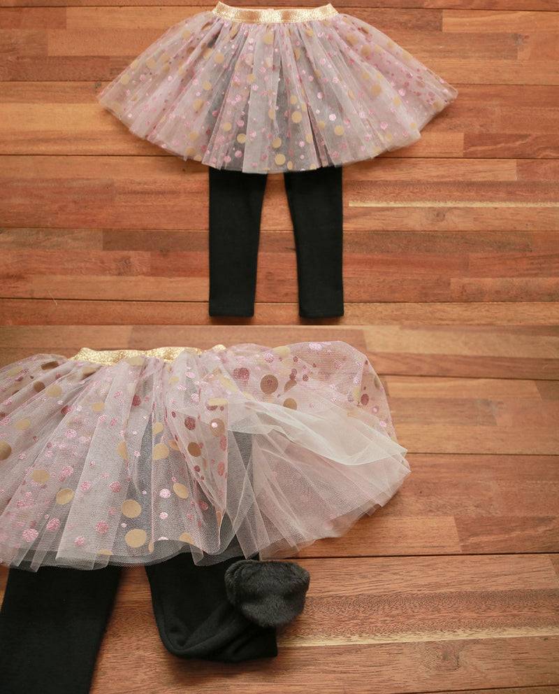 [Out of Stock] Printed Tulle Skirt Overlay Leggings