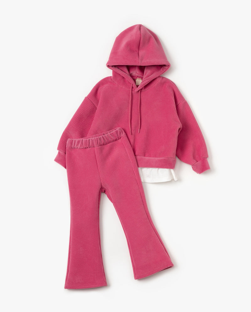 [SET] Layered Hoodie and Bootcut Sweatpants on MooMooz