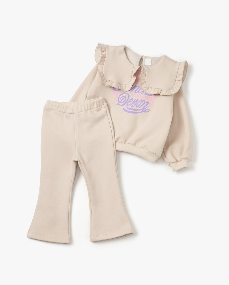 [SET] Ruffled Collar Sweatshirt and Sweatpants