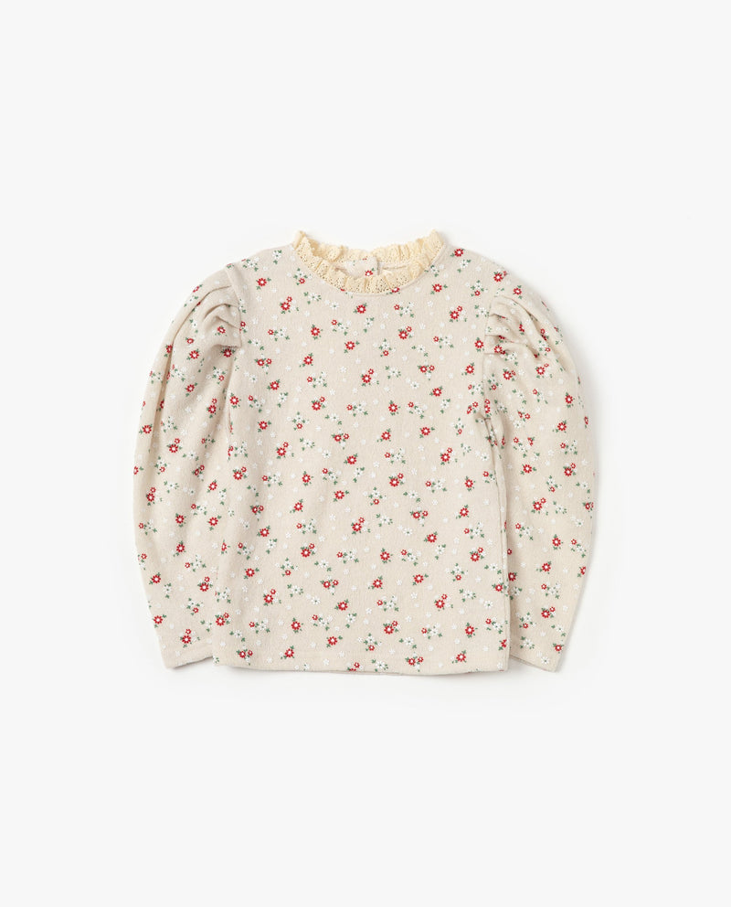 Laced neck Floral T-Shirt on MooMooz
