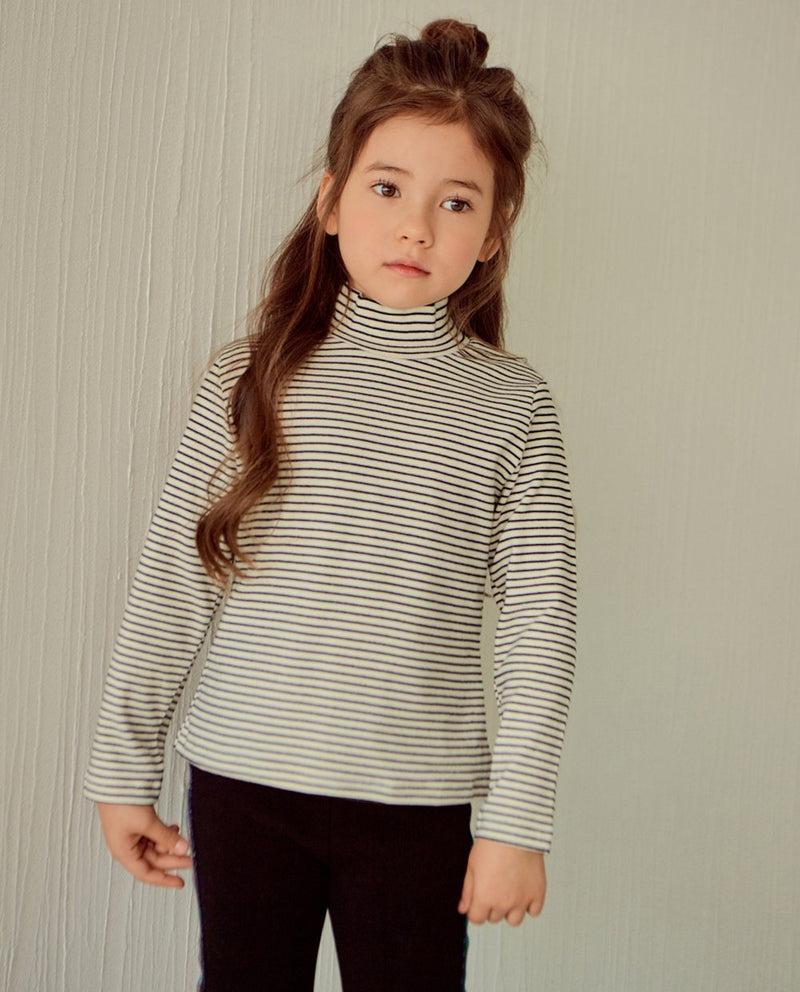 Mock Neck Striped T-Shirt on MooMooz