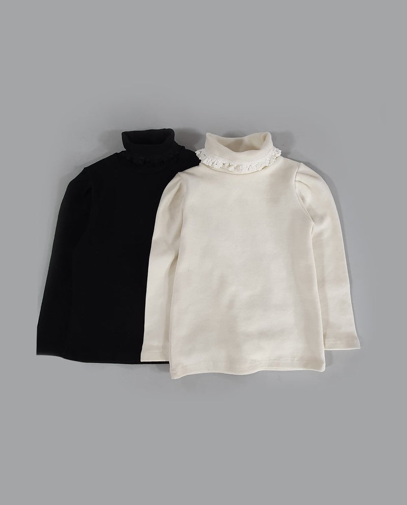 Ruffled Turtleneck T-Shirt on MooMooz