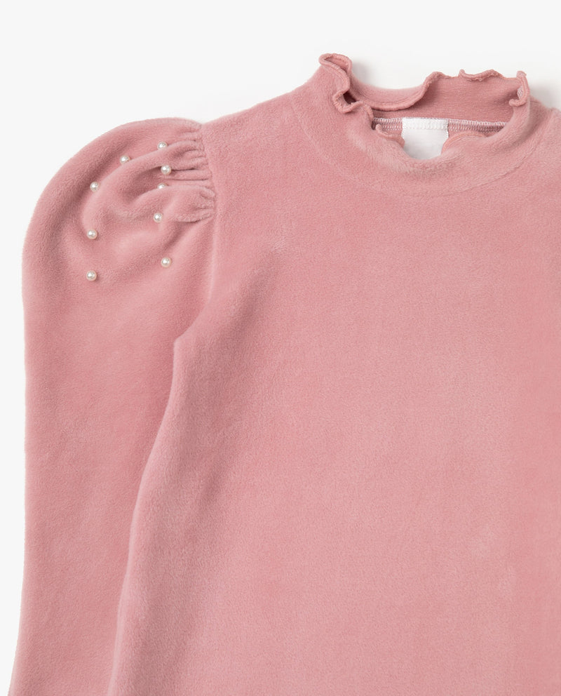 Pearl Embellished Puff Shoulder T-Shirt on MooMooz