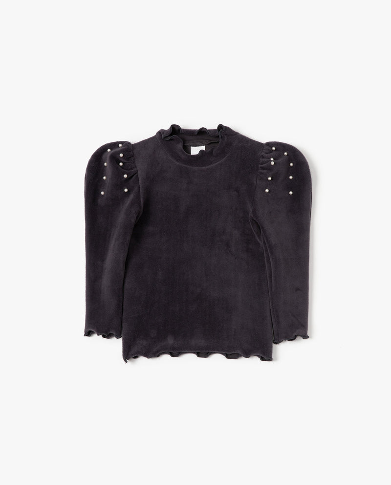 Pearl Embellished Puff Shoulder T-Shirt