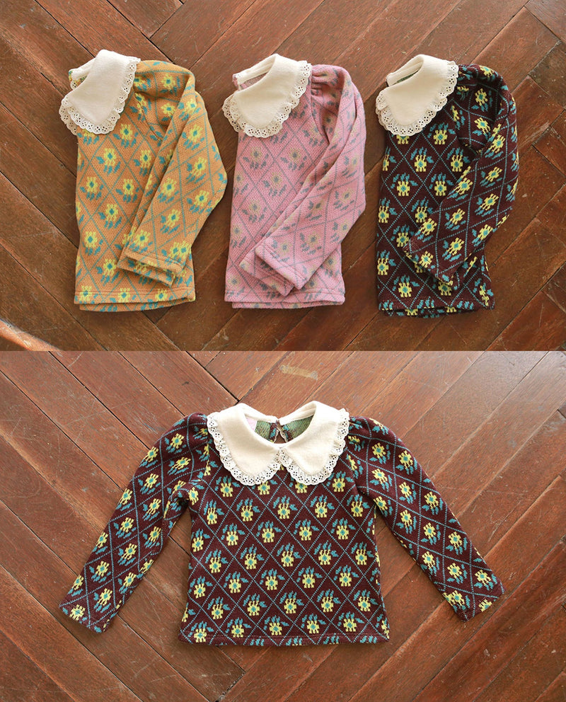 Retro Flower Print Collared T-Shirt