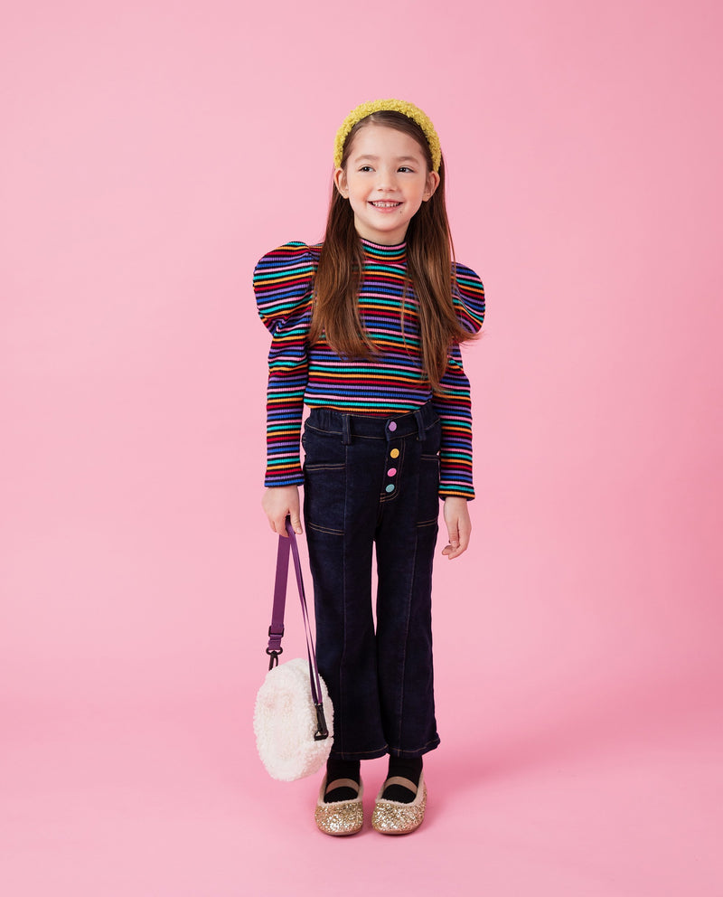 Rainbow Puff Sleeve T-Shirt on MooMooz