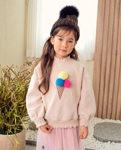 [Out of Stock]Ice Cream Pom-Pom T-Shirt (Ivory)