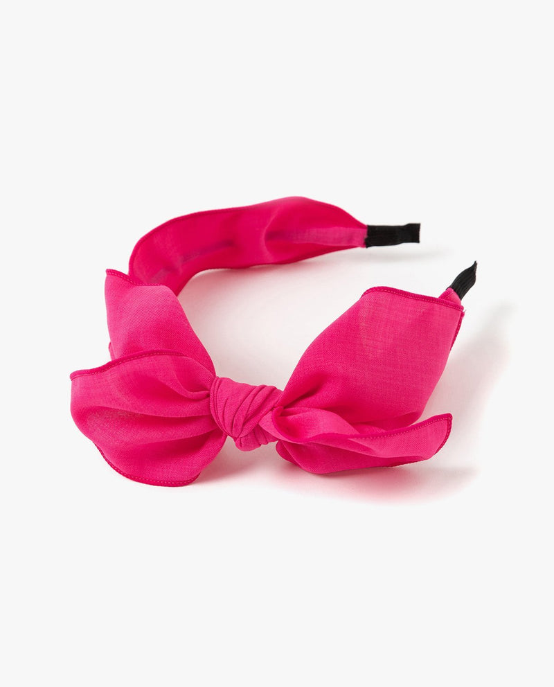 Cotton Big Bow Headband Hot Pink