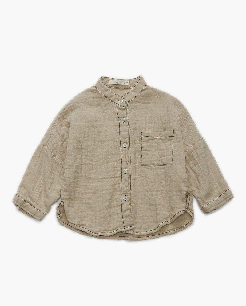 Cotton Band Collar Shirt