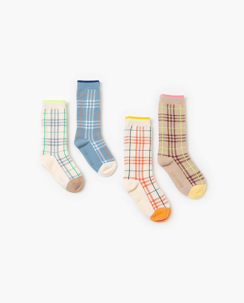 [Out of Stock] [SET-2PAIRS] Plaid Love Socks