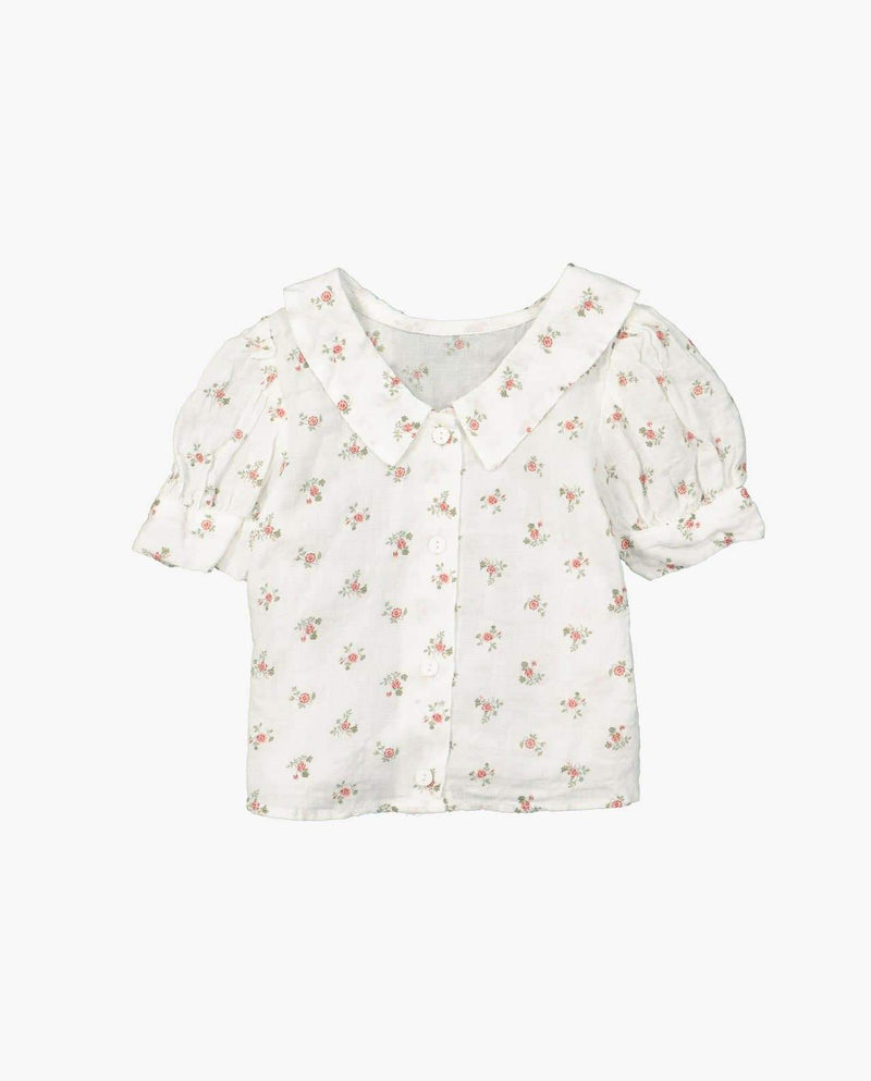 [Out of Stock] Floral Textured Collared Blouse